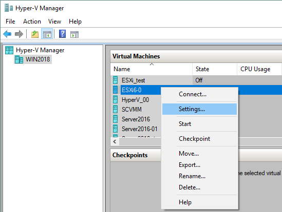 Editing the settings of a Hyper-V VM that already exists
