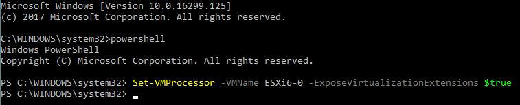 Enabling nested virtualization for a Hyper-V VM