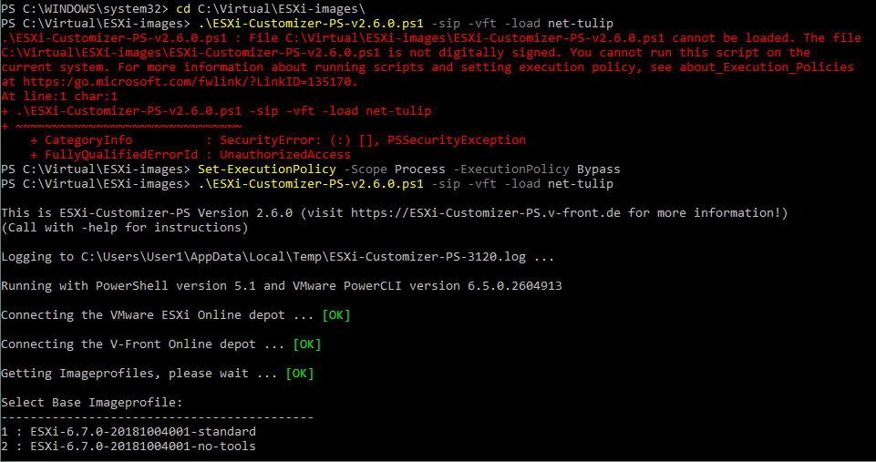 Integrating network drivers by using the ESXi-Customizer script