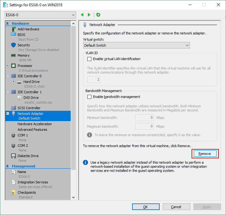 Removing the existing network adapter from Hyper-V VM