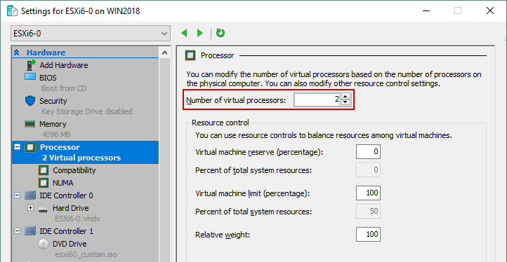 Select Processor and set the number of virtual processors