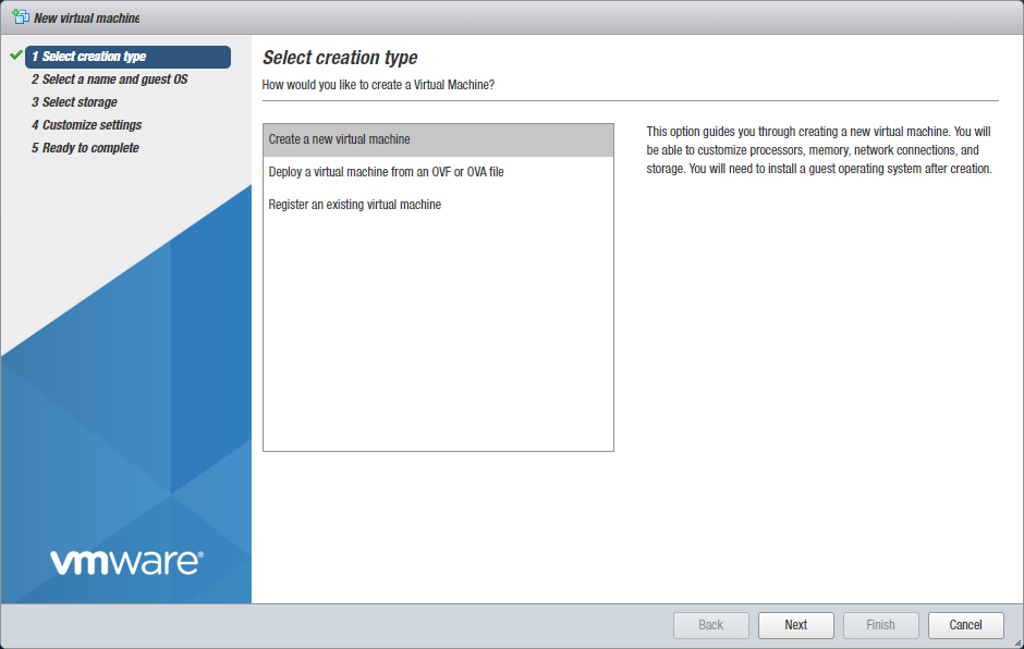 Selecting a VM creation type