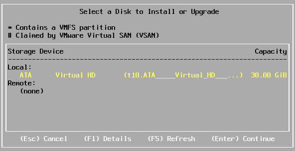 Selecting a disk to install ESXi