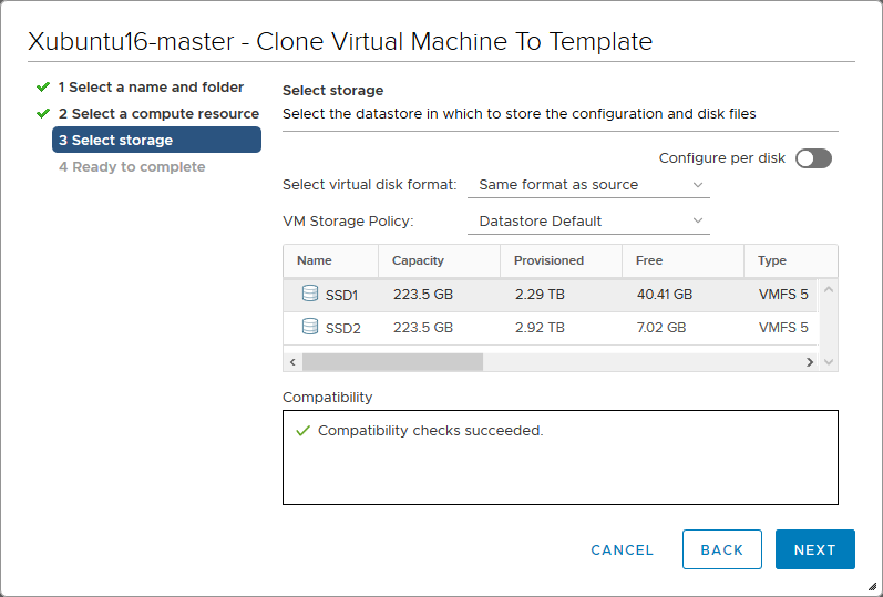 Selecting a storage location for the VM template files