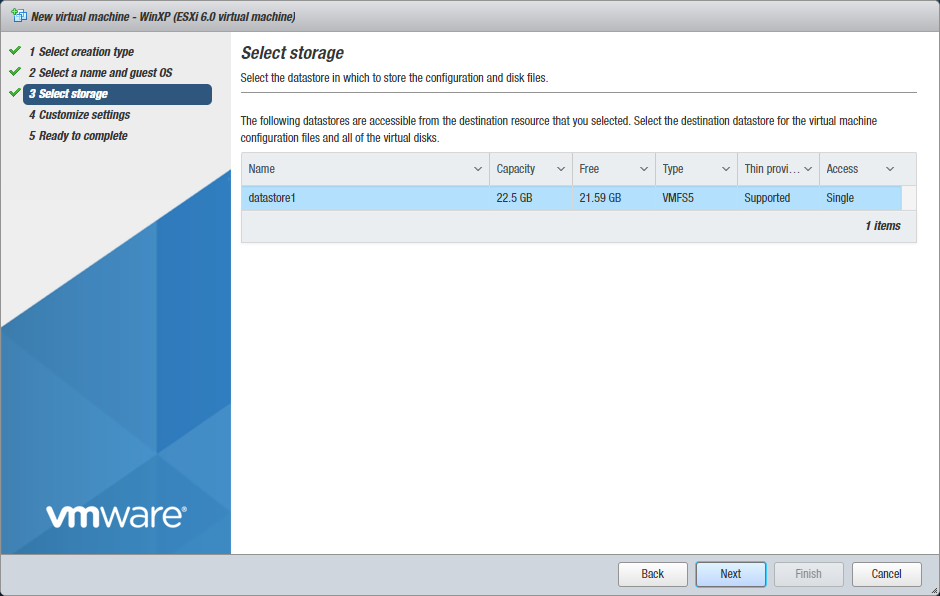 Selecting storage for a new VMware VM