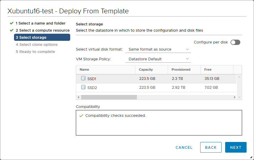 Selecting storage to store the VM files