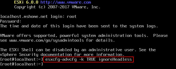 Setting ignoreHeadless=TRUE permanently for correct ESXi boot