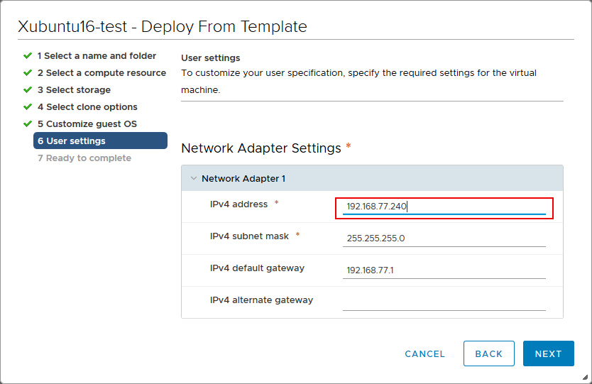 Setting the IP address for a VM clone during deployment from a VM template