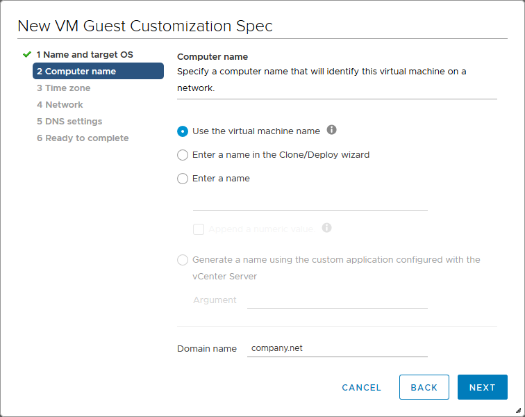 Setting the computer name and domain name for a VM guest OS.