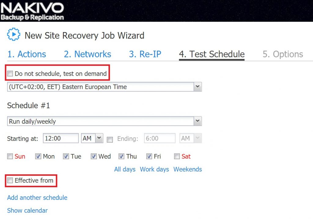 Site recovery test schedule