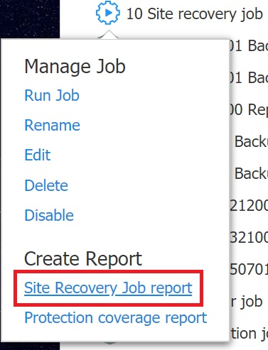 Site Recovery Job report