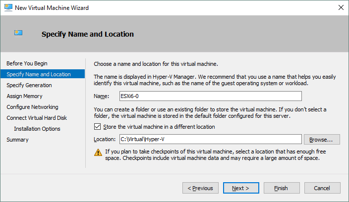 Specifying a name and location for a new Hyper-V VM