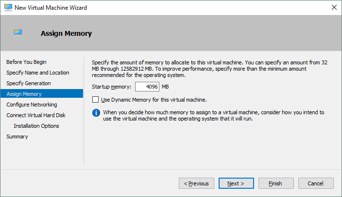 Specifying the amount of memory for the Hyper-V VM that is being created