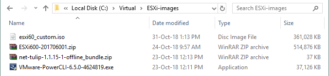 The ESXi 6.0 installation image with tulip network drivers is created
