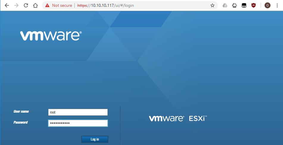 The ESXi login page in VMware Host client.