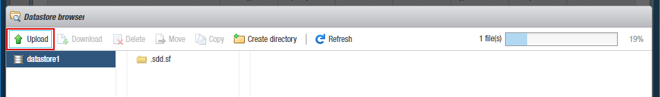 Uploading the ISO installation image to the ESXi datastore