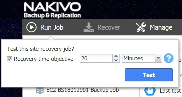 Test site recovery job
