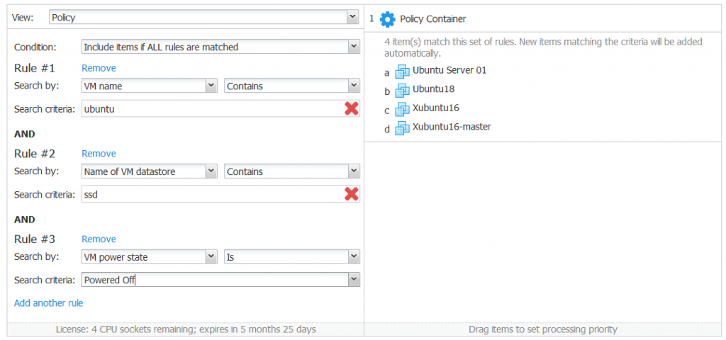 Configuring a policy-based backup job with three rules