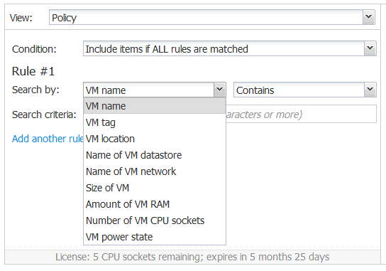 Creating a rule to search by a VM name