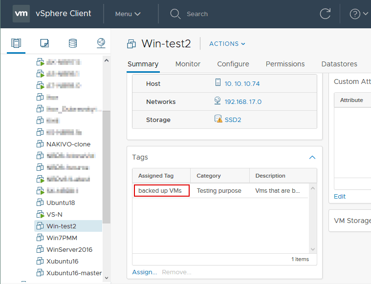 Viewing tags assigned to a VM in VMware vSphere Client