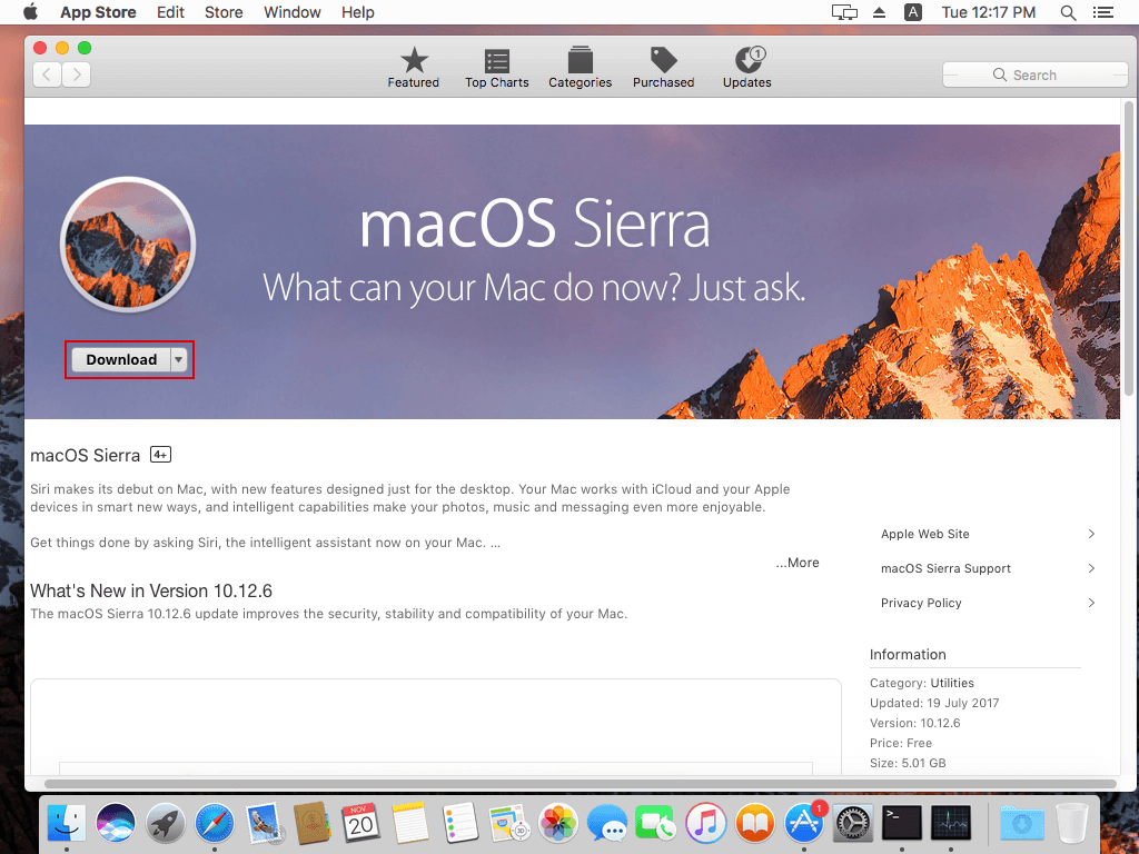 Downloading Mac OS X 10.12 Sierra from the App Store.