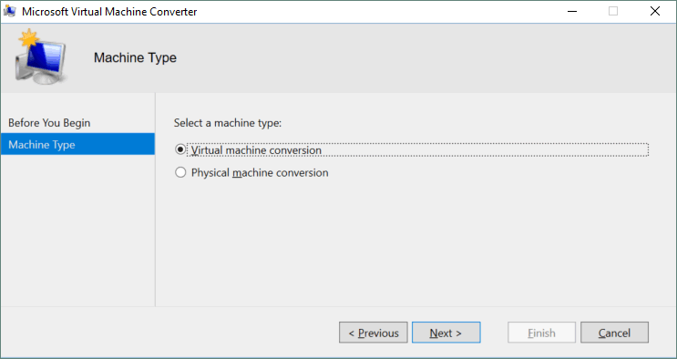 Selecting virtual machine conversion in the MVMC wizard.