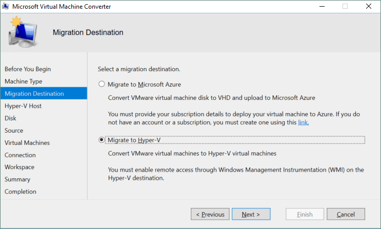 Selecting Hyper-V as the migration destination.