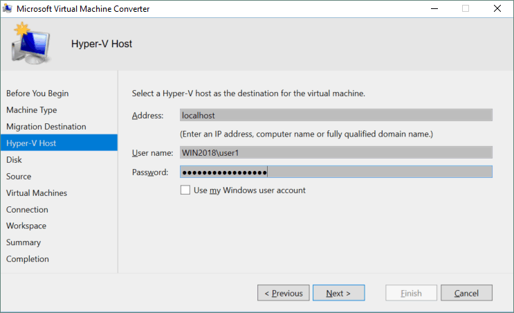 Selecting a Hyper-V host as the destination for the virtual machine.