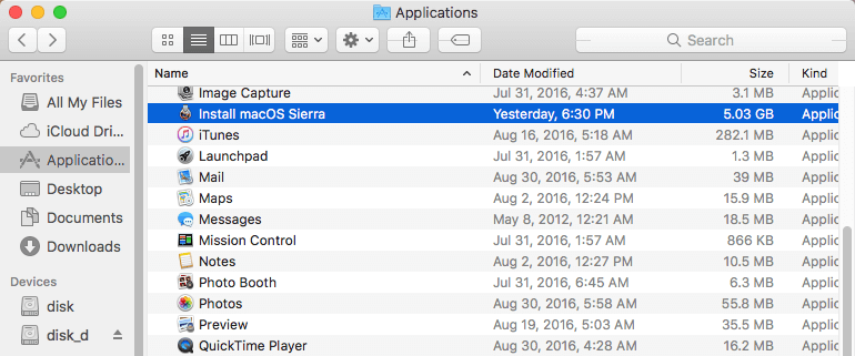 "Browsing the ""Install macOS Sierra.app"" file."