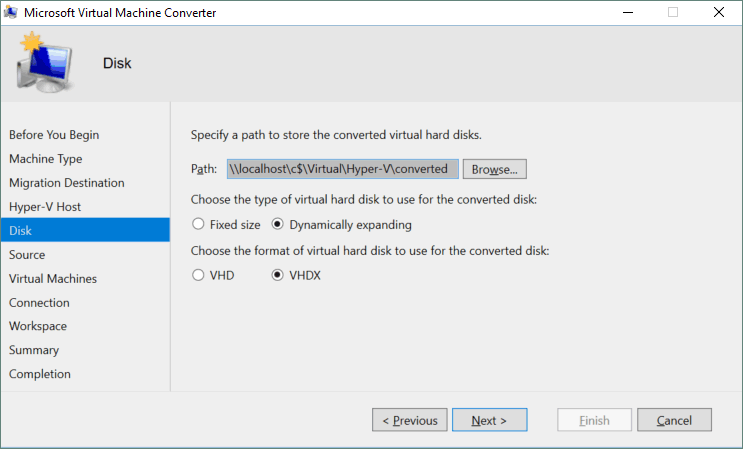 Configuring the virtual disk options for the destination Hyper-V based VM.