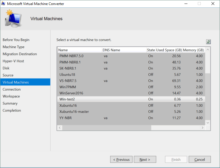 Selecting a virtual machine to convert.