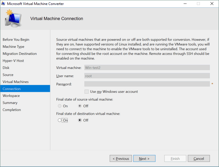 Connection options for the VM.