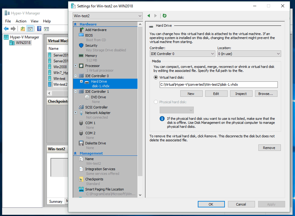 Editing the virtual machine settings with Hyper-V Manager.