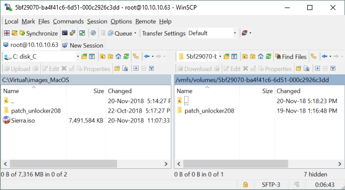 Copying files to the ESXi server with WinSCP
