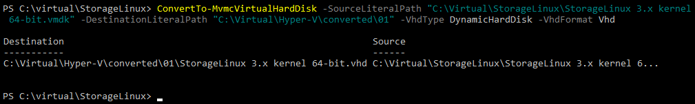 A virtual disk has been converted successfully from VMDK to VHD.