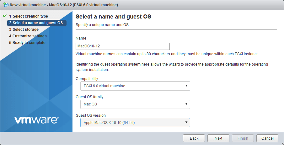 Selecting a name and guest OS.