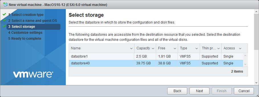 Selecting storage for a new VM.