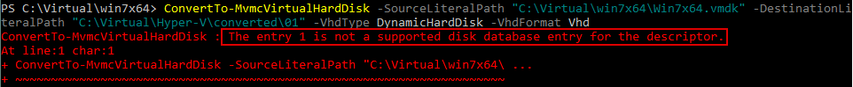 An error is thrown when conversion of the VM disk is attempted: the entry 1 is not a supported disk database entry for the descriptor.
