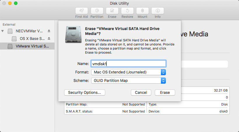 Preparing a disk with the disk utility