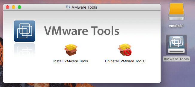 Running the VMware Tools installer.