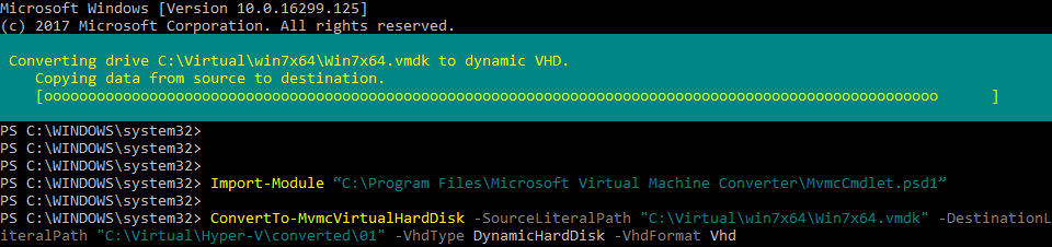 Converting VMDK to VHD after importing the edited descriptor.