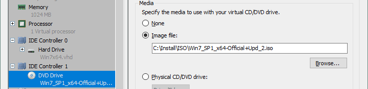 Mounting the ISO image with Windows installer to a virtual CD/DVD drive of the Hyper-V VM.