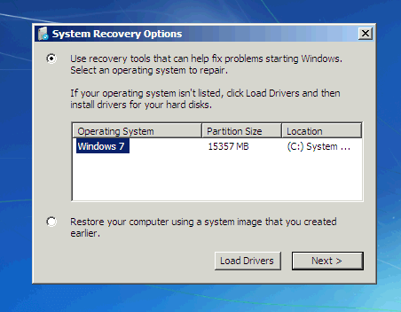 Selecting the operating system in system recovery options.