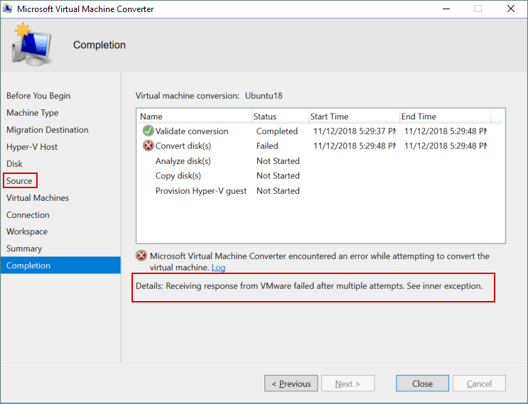 An error is thrown during attempted VM conversion: Receiving response from VMware failed after multiple attempts.