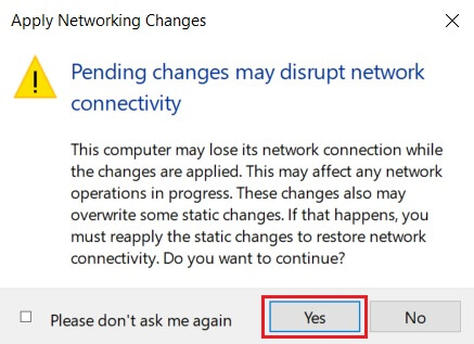 'Apply Networking Changes' Dialog Box
