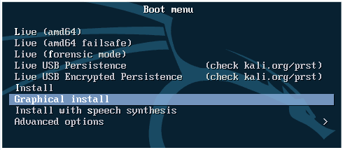 How to Install Kali Linux on VMware: A boot menu of Kali Linux installer