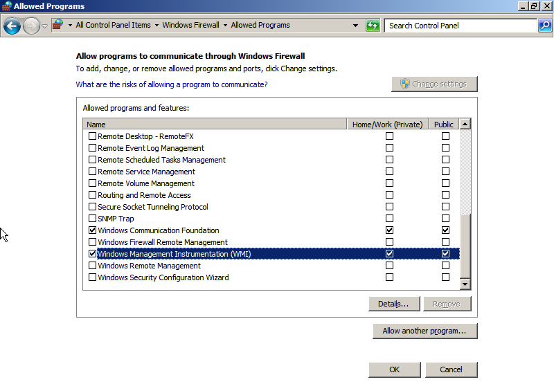 Adding Windows Management Instrumentation to the allowed programs in Windows Firewall