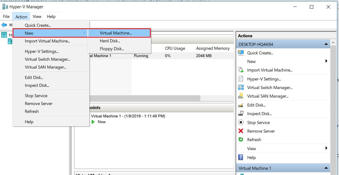 Creating New VM with Hyper-V Manager