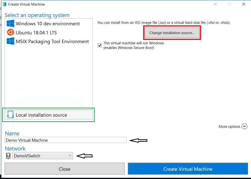 Creating New VM with Hyper-V Quick Create