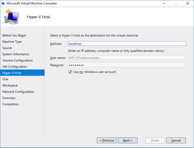 Selecting a Hyper-V host for the destination VM